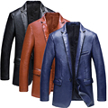 2016 Autumn&Winter new arrival business casual leather jacket Fashion slim single button quality PU leather jacket men M-3XL