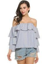2017 New Women Pleated Slash Neck Cotton Blend Long Sleeve Shirt Ladies Off Shoulder Stripe Shirt Top