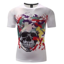 2017 New design brand skull fashion 3D T-shirt Compression Shirts Men Short Sleeve T-shirts fitness Tops