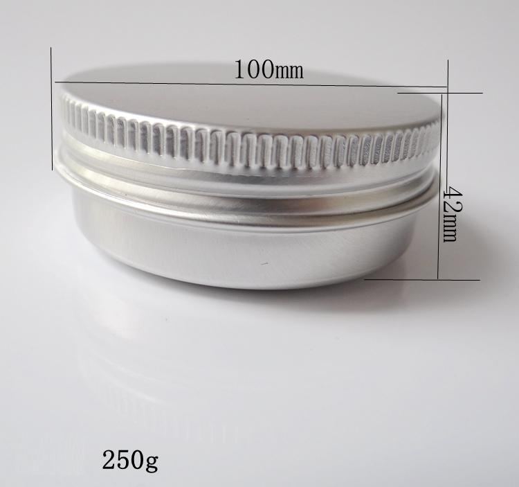 250g 100*42mm refillable empty round aluminum metal tin cans bottle with lids , cosmetic cream container box aluminum jar