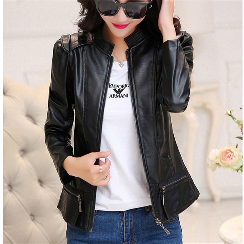 Slim 2017 Bomber Femme Women   Jacket   Spring Casual Thin PU Moto Leather   Basic     Jackets   and Coat