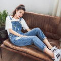 B6520 hole denim bib pants female ankle length trousers loose preppy style slim trousers