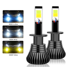 Pair COB H1 H4 H7 9006 Driving 8000K Ice Blue 6000K White 3000K Amber Yellow Car Fog Lights Bulbs Dual Color Auto LED Lamps