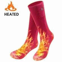 Носки с подогревом носки с электроподогревом с перезаряжаемой батареей 3,7 V литий-ионные аккумуляторы для хронично холодных ног(розовый