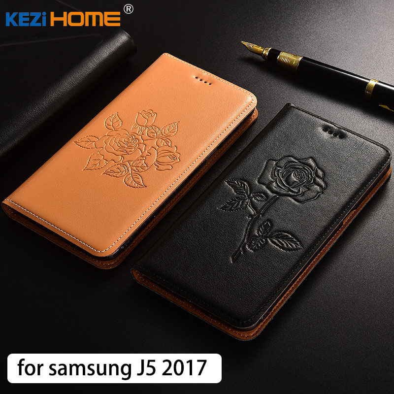 For Samsung J5 2017 Case Flip Embossed Genuine Leather Soft TPU Back Cover For Samsung Galaxy