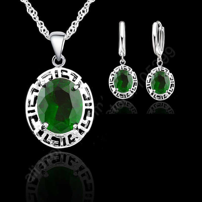 Elegant Oval Zircon 925 Sterling Silver  Jewelry Sets For Women Wedding Earrings/Pendant/Necklace Bijoux 3 Color Option