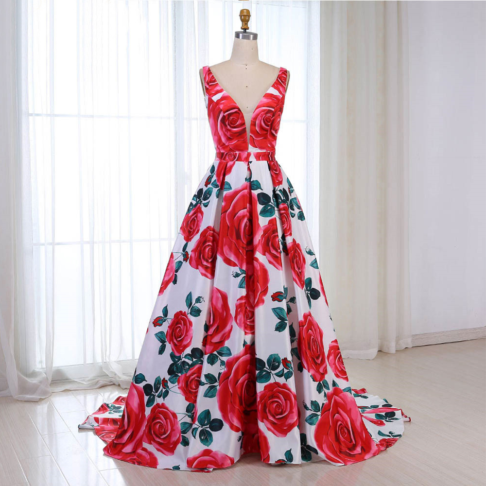 Party-Gown Evening Dresses 2020 Satin A-Line V-Neck Long Evening Dress Sleeves Formal Gowns 2020 Robe-de-soiree