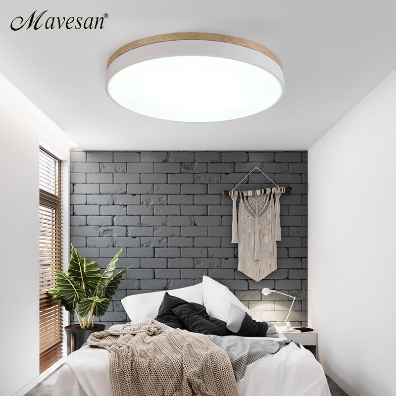 Hot thin led ceiling lights bedroom lamps modern with Color polarizer luminaria lamps child luminaire lampe deco with Wooden