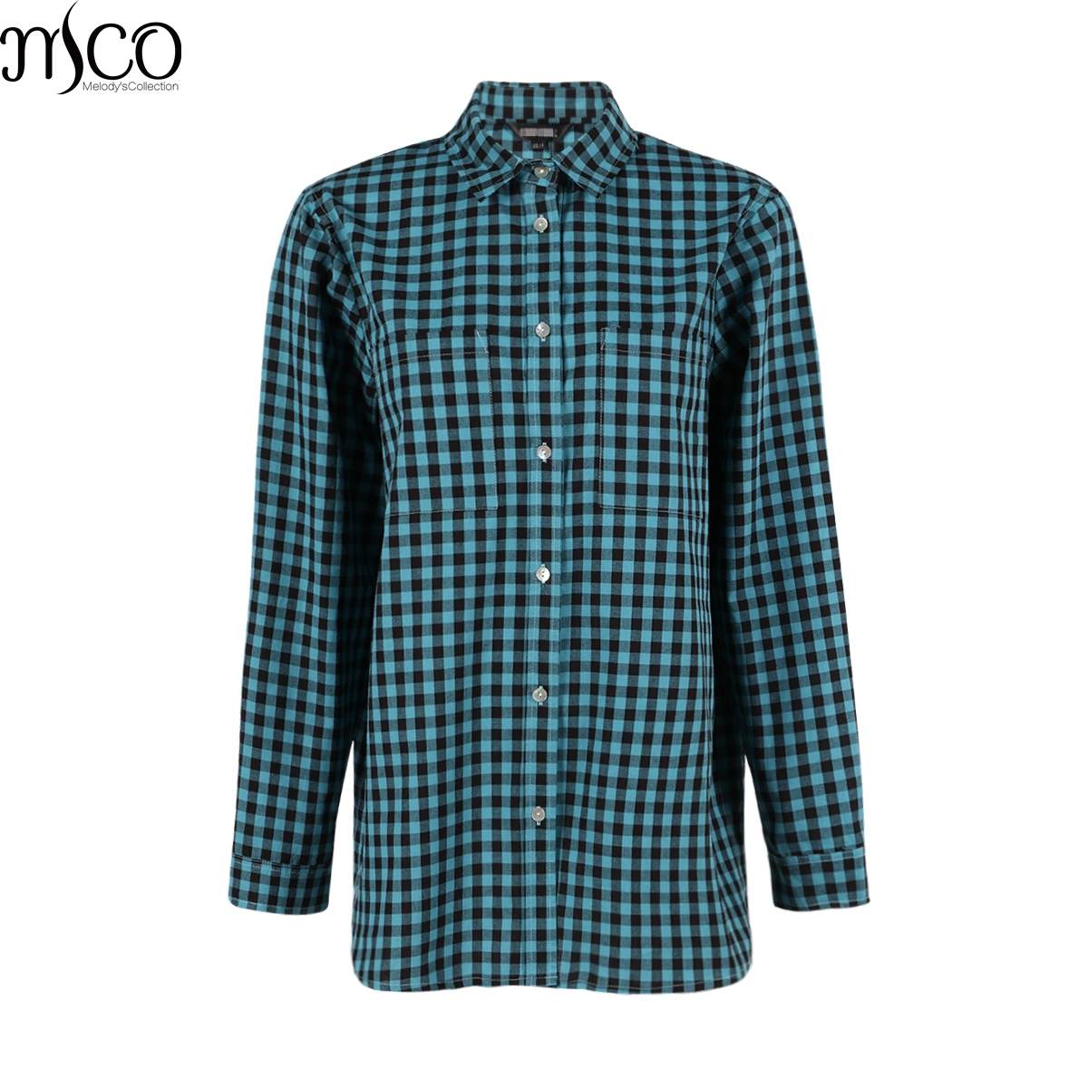 MCO Autumn Basic Plus Size Check Top For Office Ladies Simple Oversized  Women Blouse Classic Plaid 1226231e63e5
