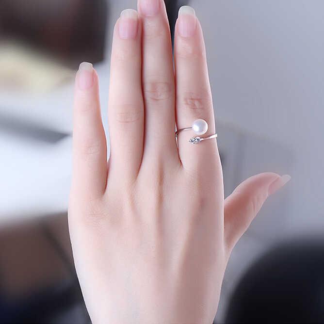 ZHBORUINI Vòng Ngọc Trai Đồ Trang Sức Bạc Zircon Dát Nhẫn Ngọc Trai Nước Ngọt Nhẫn Cưới 925 Sterling Silver Bạc Nhẫn Đối Với Phụ Nữ