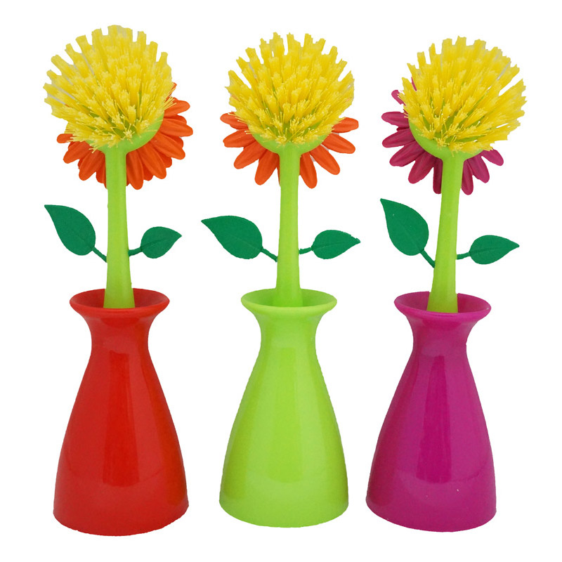 Cleaning Brush Sunflower Shaped Handle Brush Clean Gadgets Multifunctional Kitchen Tools Removable Plastic