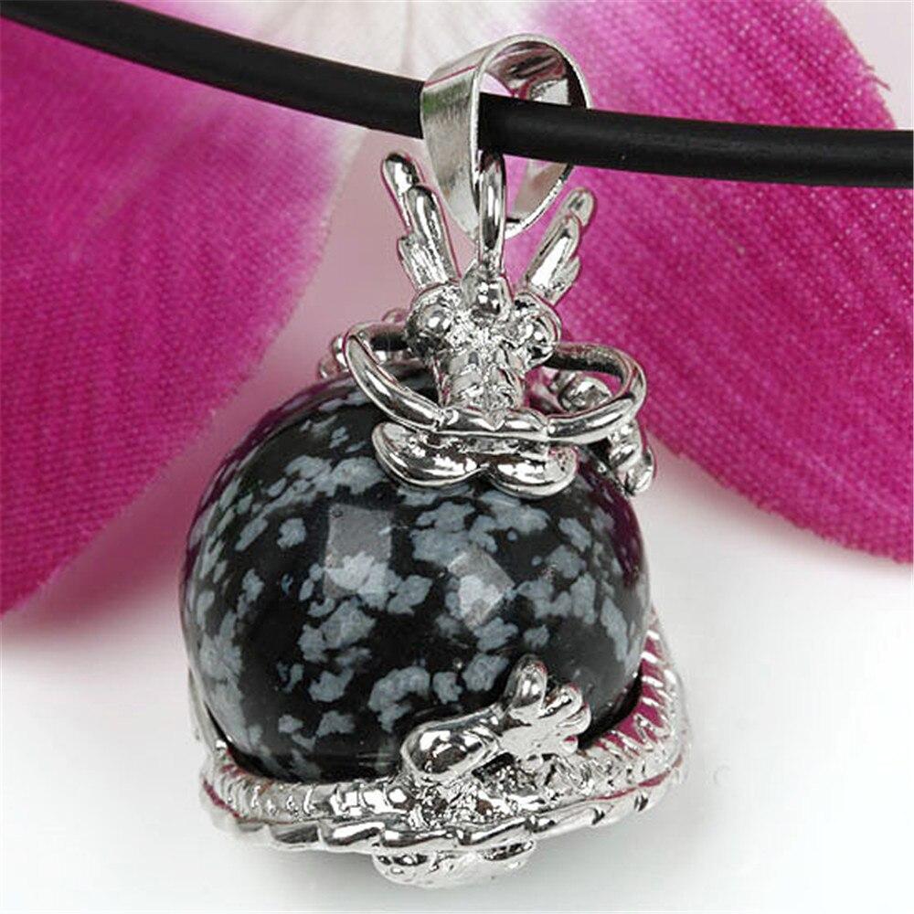 ac88df87a خاص 16 الألوان حجر الأفعى التنين يصاب الكرة قلادة الشرير الوردي الطبيعي  الكوارتز قلادة للنساء ناتروال ستون مجوهرات