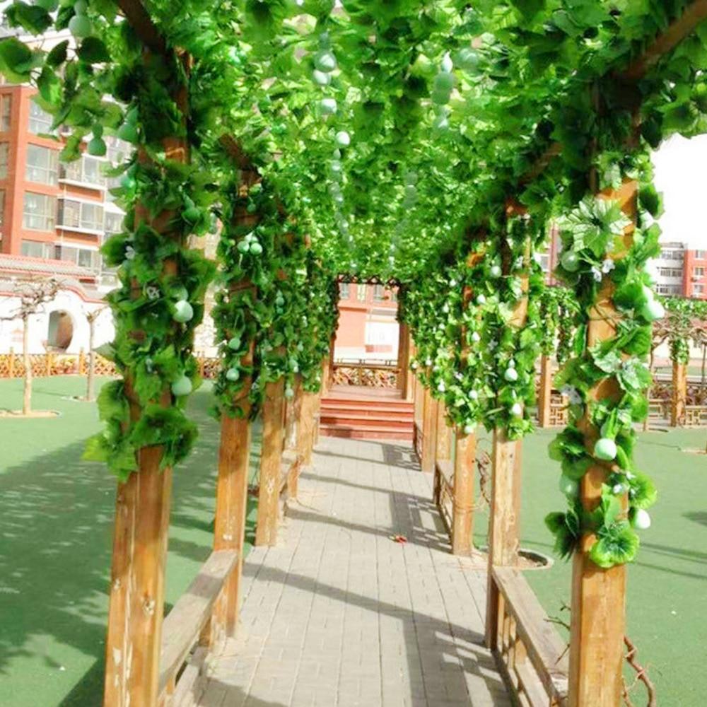 12 piezas 230 cm Artificial hiedra Leaf Garland plantas de plástico verde largo Vine falso follaje flor decoración de la boda