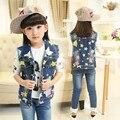 Meninas novas da Chegada Prevista Outerwear 2017 Primavera Outono Meninas Roupas Crianças Estrela Impressão Casaco Cowboy Coletes Jaqueta de Comprimento Roupas