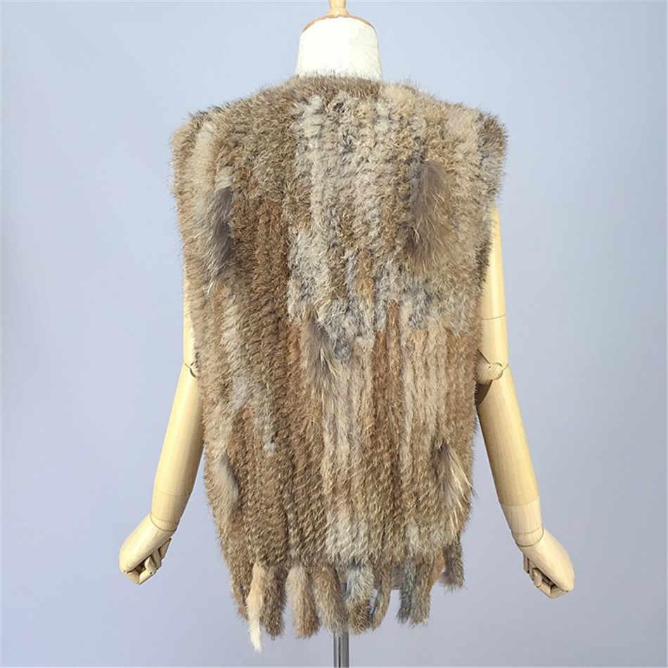 MLHXFUR Real rabbit fur knitted fur vest tassels gilets crochet fur vests plus size fringed vest jacket sleeveless 5XL,6XL