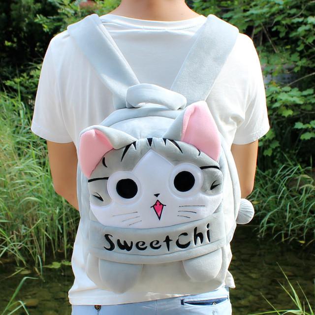 1 PC 28 cm 35 cm dos desenhos animados sweetchi queijo gato engraçado plush mochilas jardim de infância a tiracolo Satchel menina menino presente do bebê brinquedo