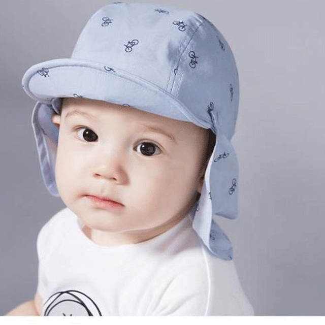 e84b8789a6a2 Online Shop New Kids Hat Baby Summer Caps Big Cotton Bonnet Bicycle Printed  Cartoon Baby Boy Sun Hats Baby Soft Visors Two Colors