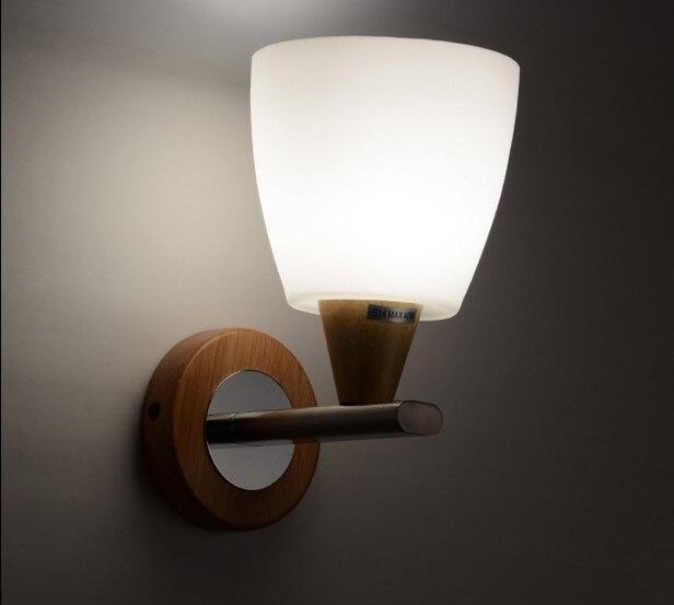 IWHD Nordic Creative Wooden Wall Light Fixtures Glass Lampshade Beside Lamp Wall Sconce Luminaire Arandela <font><b>Aplik</b></font>