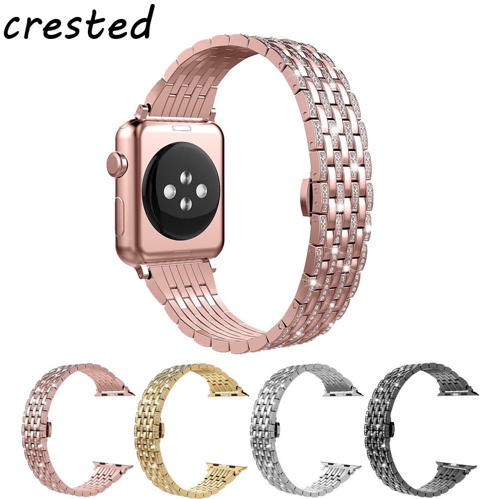 CRESTED stainless steel watch band strap for apple watch 42mm/38 watchband Butterfly buckle diamond strap for iwatch 1/2/3 diamond stainless steel band for apple watch 38mm 42mm series 3 2 1 replacement strap band for iwatch with butterfly buckle