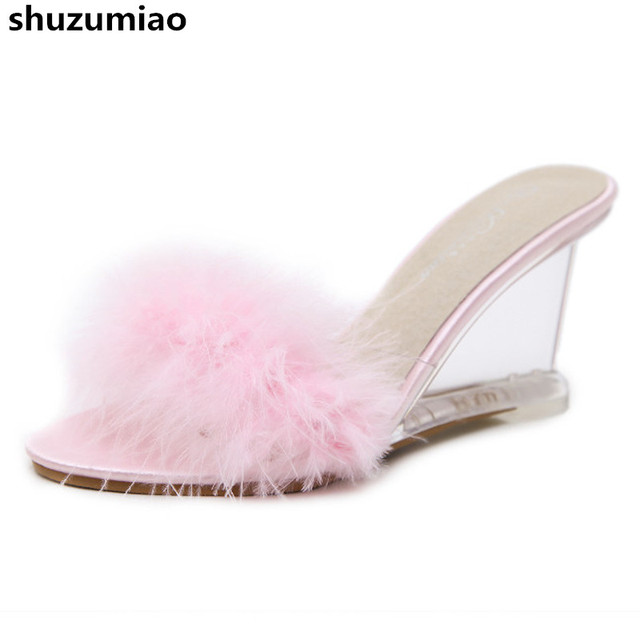 e055ee32a82ffe New Fur Women Slippers High Heels Fashion Clear Heels Women Sandals Wedge  Shoes Pumps Summer Transparent Shoes