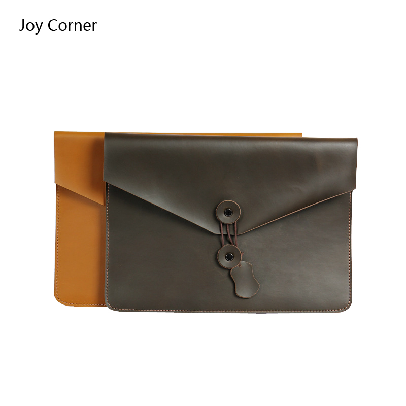 Joy Corner Genuine Leather File Folder Document Filing Bag Elastic Closure Folder Laptop Notebook Bag Office Business Supplies a4 leather discolor manager file folder restaurant menu cover custom portfolio folders office portable pu document report cover