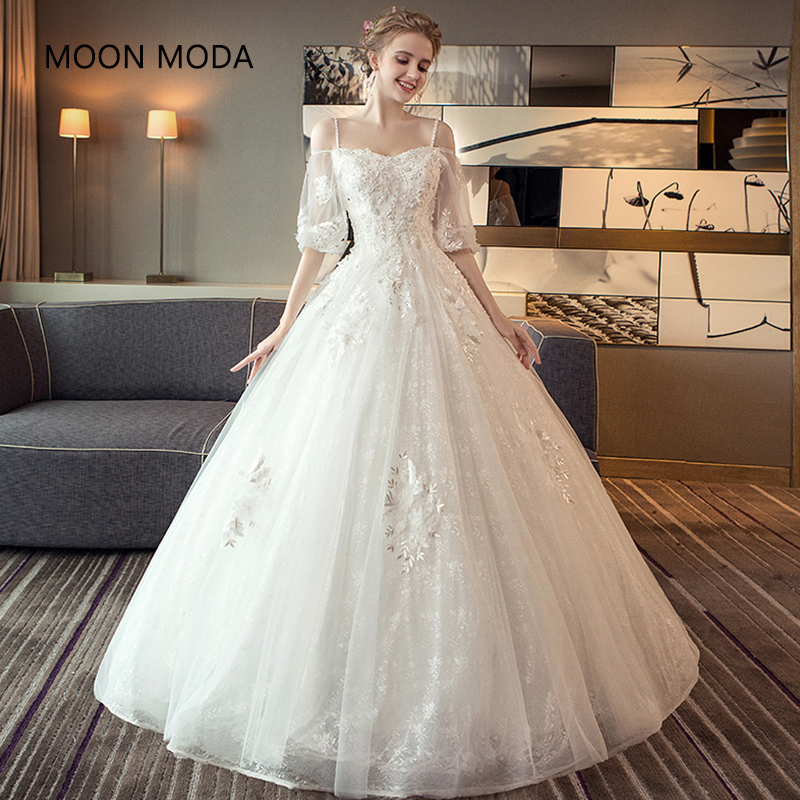 Simple Wedding Dresses Pics: Long Half Sleeve Muslim Lace Wedding Dress High Quality