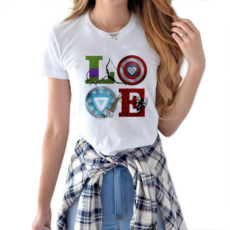 LOVE Avengers T Shirt Women Marvel Movie Avengers Endgame Vogue T-shirts Short Sleeve  Streewear Clothes Harajuku Style Tshirt