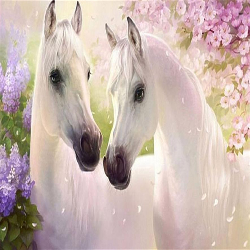 DIY Two Horse 5D Diamond Embroidery Painting Cross Stitch Craft Home Decor jan11