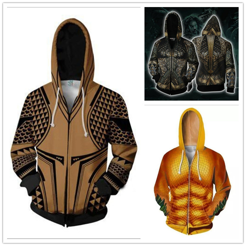 Men Women Movie Aquaman Cosplay Costume Superhero 3D Printing Zipper Hoodies Jason Momoa Coat Sweatshirts Spring Jackets