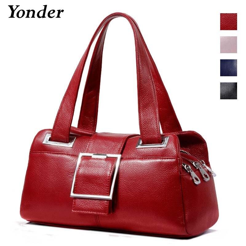 Yonder fashion women handbag genuine leather shoulder bags designer female Pillow bag high quality ladies handbags