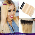 T1b/613 Dark Roots Ombre Human Hair Extension With Lace Frontal Straight Two Tone Ombre Hair Weaves 4Bundles With 13x4 Frontal