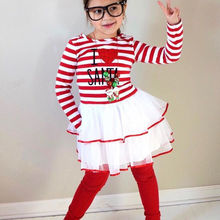 цены на Christmas Clothes Girl Clothes Long Sleeve Girls Dress Toddler Baby Kids Girls Deer Printed Striped Party Princess Dress  в интернет-магазинах