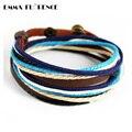 Hot Fashion Handmade Punk Wristband Bracelet Snaps Wrap Multilayer Boheme Bracelets Hemp Leather Bracelets for Men Jewelry