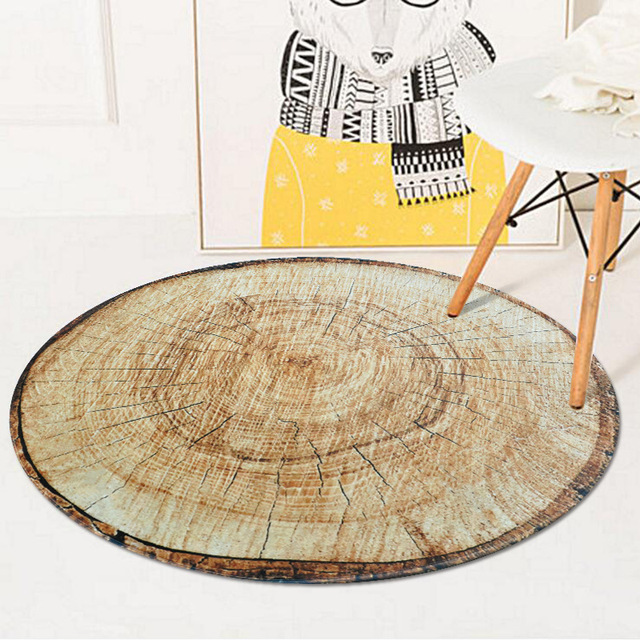Distinctive Round Rug Antique Wood Tree Growth Ring Carpet Computer Chair Floor Pad Mat For Bedroom Kids