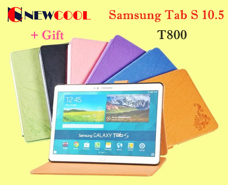 NEWCOOL Elegant Floral PU Leather Case Flip Cover for Samsung Galaxy Tab S 10.5 T800 T801 T805 Tablet Cover Case + Gift