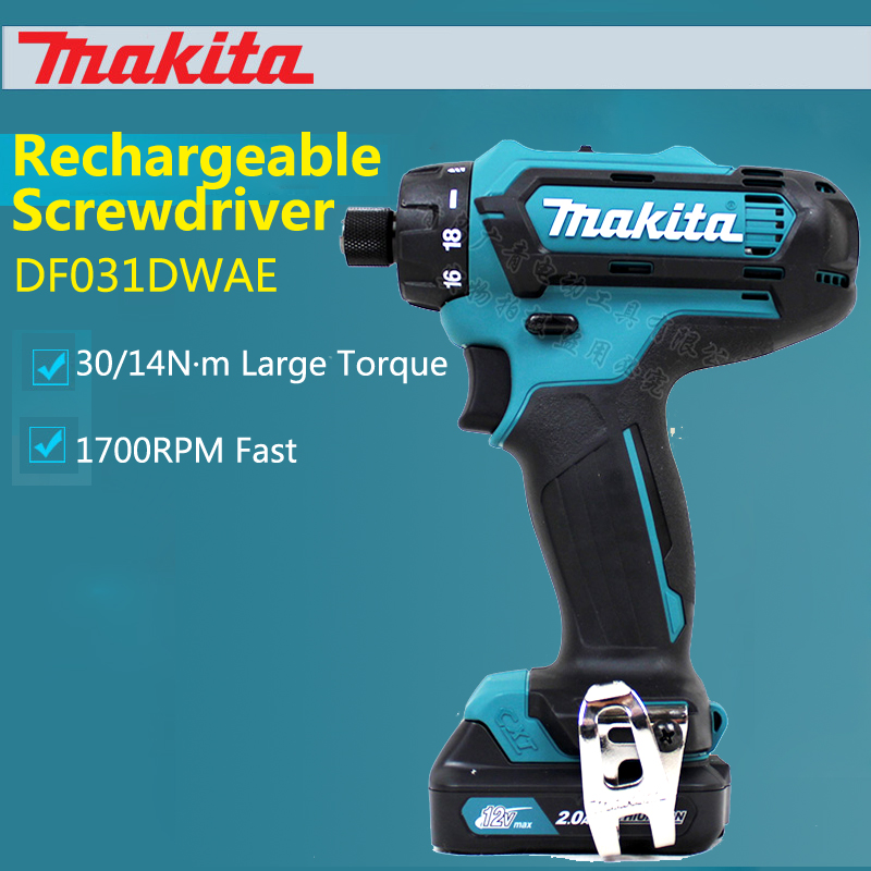 цена на New Japan Makita DF031DWAE Charging Screwdriver 12V Electric Screw Driver Lithium Batterys Electric Drill 30/14Nm 1700RPM Fast