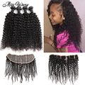 8A Mongolian Kinky Curly Hair With Closure Ear to Ear Lace Frontal Closure with Bundles 4 Bundles Human Hair Weave with Closure