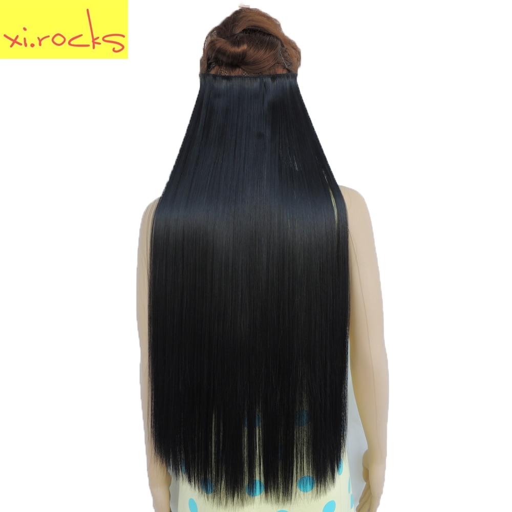 Xi. скалы Прямо 5 Клип в Наращивание Волос Высокая Температура Волокна 25 Цветов 28 inch Парики Расширение Синтетические Волосы клипы