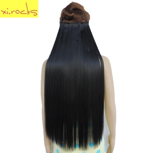 Xicks Straight 5 Clip In Hair Extensions High Temperature Fiber