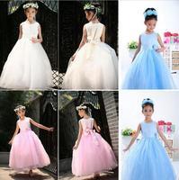 Ankle length Flower Girl Dress Sleeveless Flower Ball Gown Wedding Party Dresses Back Bandage Kids Clothes Vestido Infantil