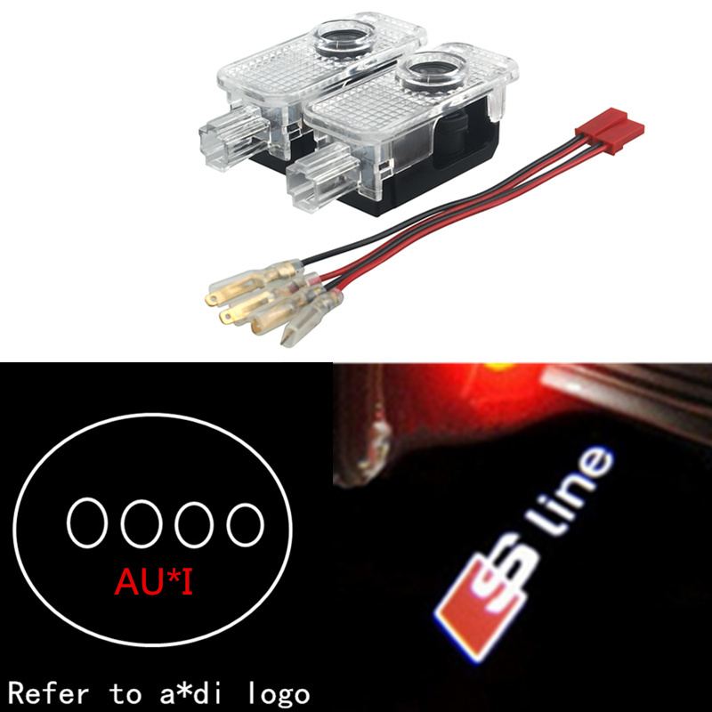 2X LED Car door welcome light courtesy led car laser projector Logo Ghost Shadow Light For Audi Logo power Light