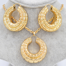 ZEADear Jewelry Big Hoop Jewelry Sets Women's Earrings Pendant Copper Gold Color Round Vehicle Wheel For Party Wedding Daily