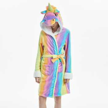 MCCKLE Winter Women Flannel Bath Robe Cartoon Unicorn Hooded Bathrobe Sleepwear Women Thick Warm Fleece Pajama Robe Dropshipping