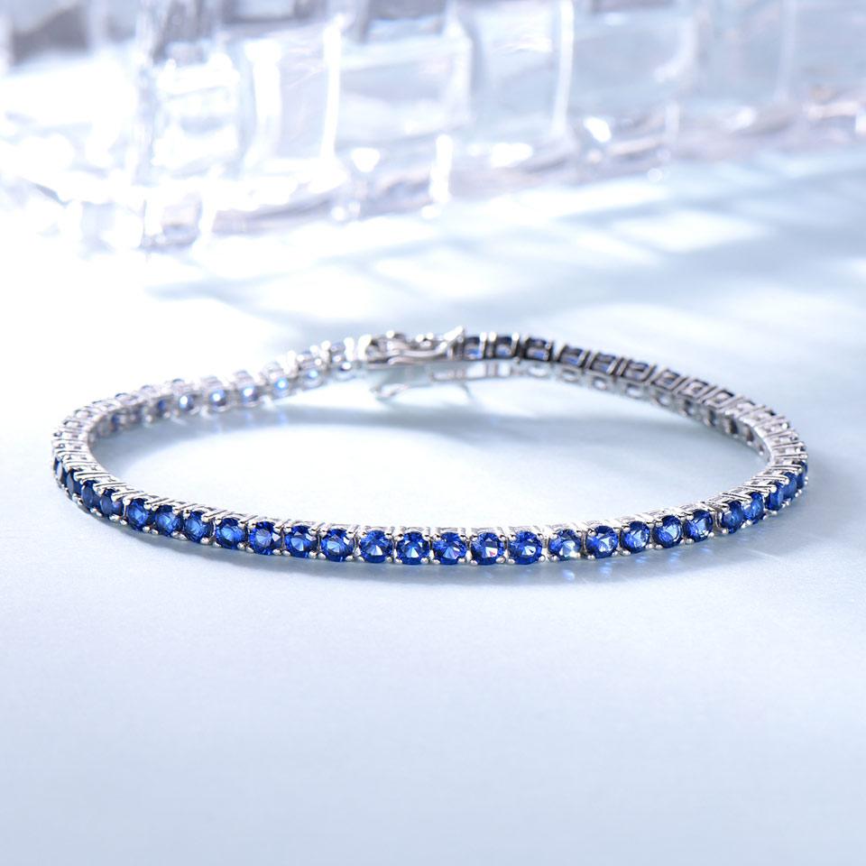 UMCHO Luxury Creado Nano pulsera de zafiro azul Real 925 pulseras y - Joyas - foto 2