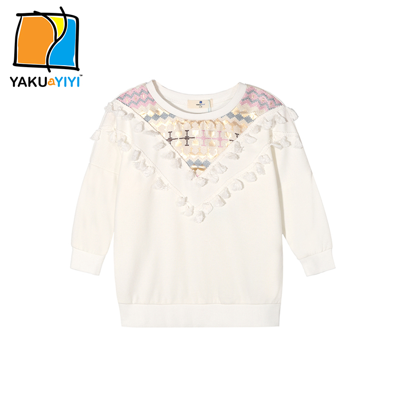 YKYY YAKUYIYI 2016 Brand New Autumn Long Sleeve Geometric Embroidery Solid Tribal Tassels Girls font b