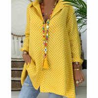 Women's Summer Loose Casual Dot Blouse Shirt Long Sleeve Polka Tops Beach Or OL Ladies' Top Plus Size S-3XL