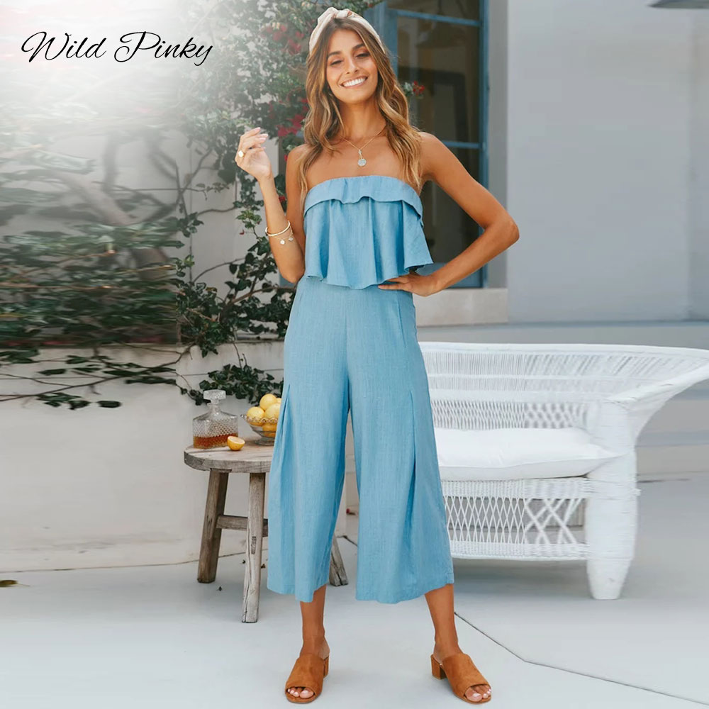 WildPinky Sexy Women Jumpsuit Off Shoulder Strapless Jumpsuits 2019 New Backless Elegant Long