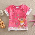 NEAT 2016 New Novelty cartoon 100% Cotton baby girls t-shirts short sleeve children clothing t shirt kids clothes wear KF1011#