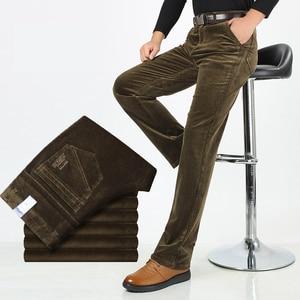 Image 3 - Autumn Winter Warm Men Stretch Corduroy Pants Loose Straight Slacks Long Business Casual Pants High Thicken Corduroy Trousers