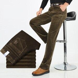 Image 3 - Pantalones de pana con estiramiento de pana para hombre, pantalones largos rectos, de negocios, informales, gruesos, de pana, para Otoño e Invierno